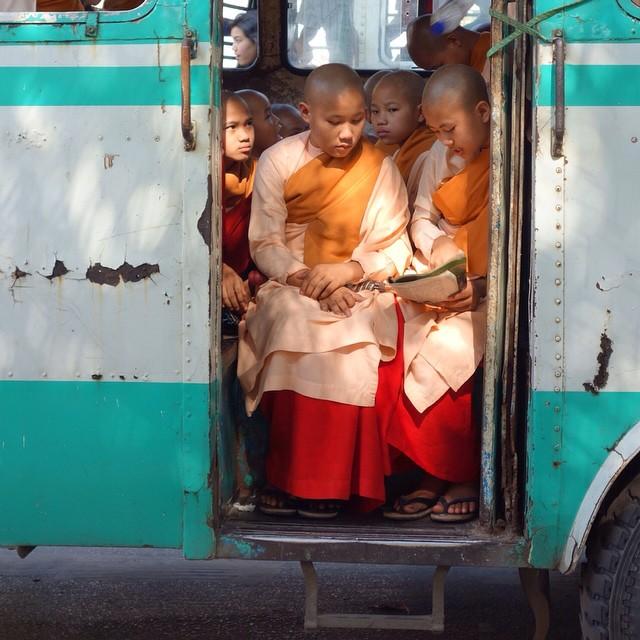 para biksuni cilik di Yangon, Myanmar, membaca buku beramai-ramai selagi menunggu bus yang akan membawa mereka kembali ke wihara.