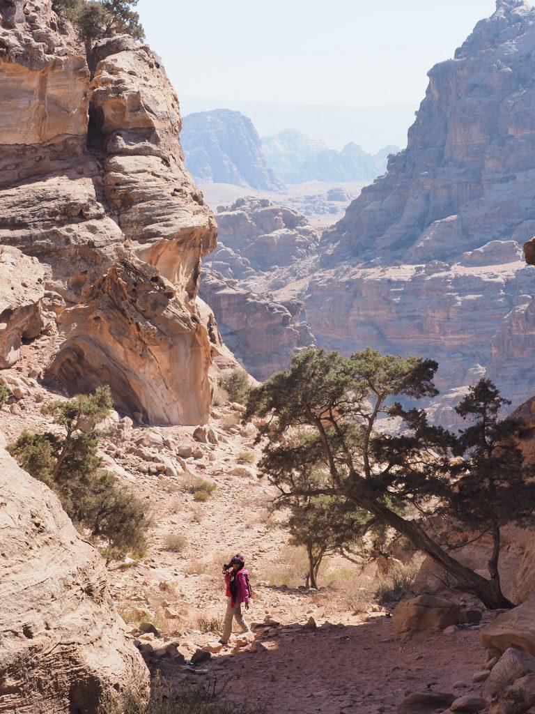 menjelajahi Petra hingga ke balik bebukitan untuk menemukan jejak peradaban Nabatean, kelompok suku Arab Kuno.