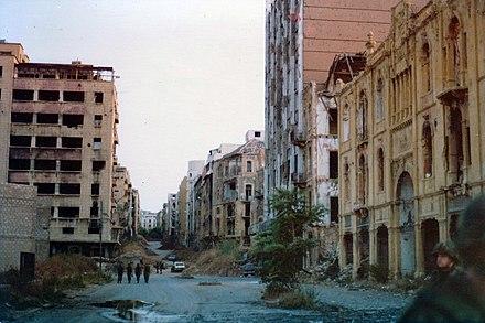The Green Line adalah sisa area perang di Beirut, Lebanon. Sumber foto: Wikiwand.